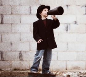 Just boy with megaphone