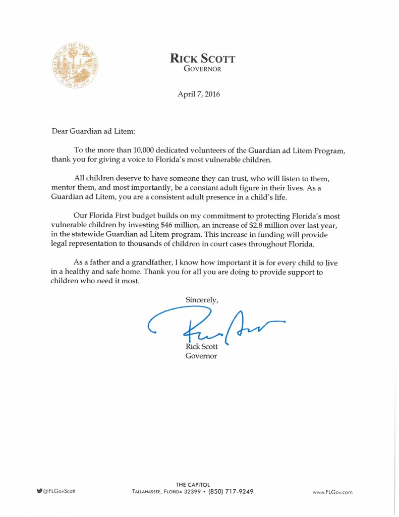 Governor Rick Scott's Personal Letter to GAL Volunteers ...