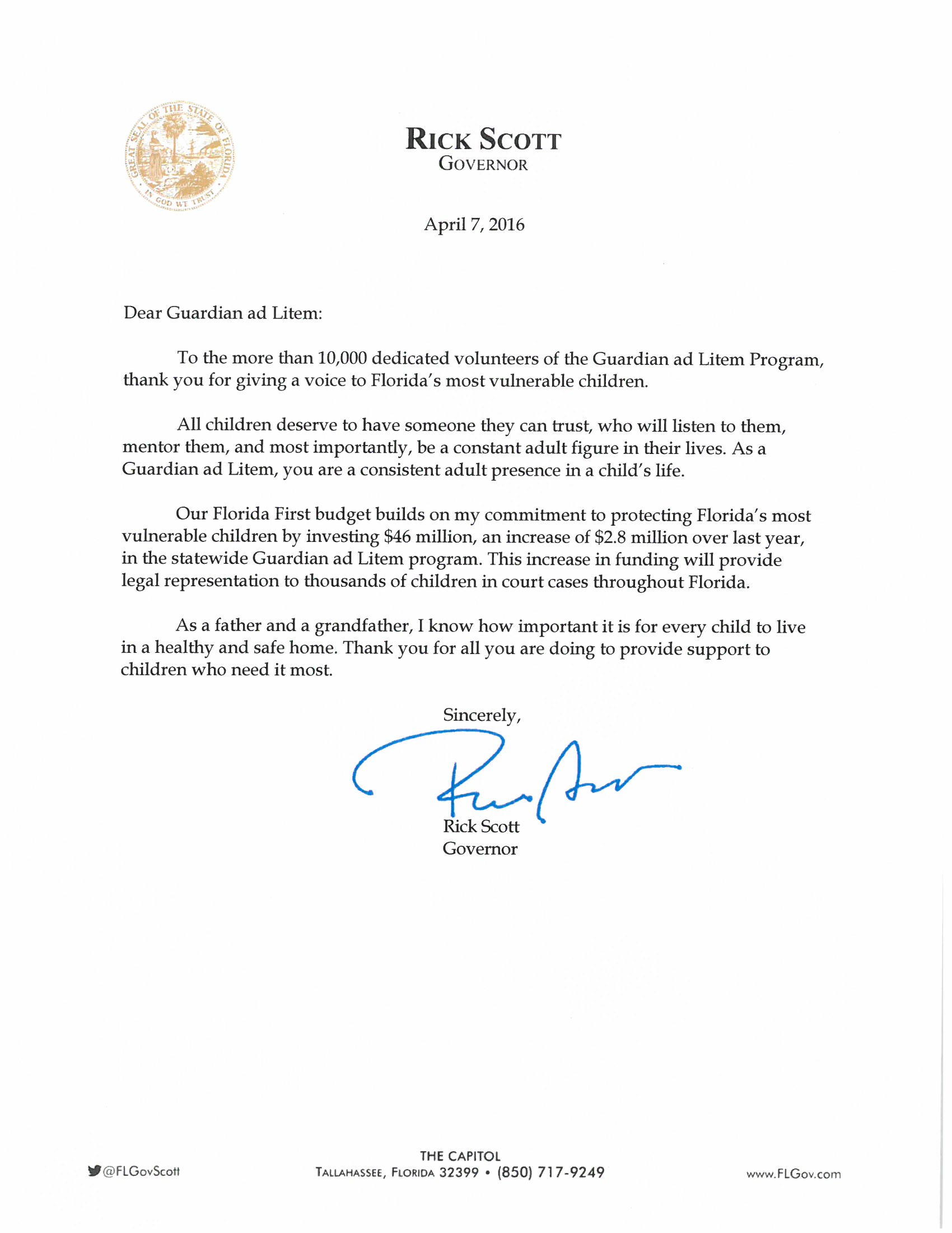 Governor Rick Scotts Personal Letter to GAL Volunteers Thank you – Personal Thank You Letter